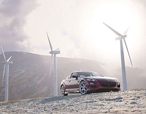 3D Red Mazda Rx 8 In The Mountains