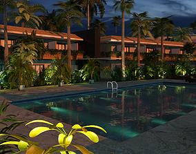 Hotel Pool Courtyard 3D model