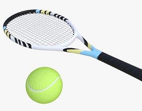 tennis ball and racket 3D