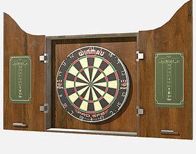 3D asset game-ready low poly PBR Pub Dart Board