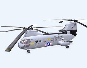 Boeing Vertol CH-46 Sea Knight Low-poly PBR 3D asset