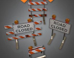 CON - Roadblock Set - PBR Game Ready 3D asset