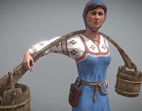 3D asset Peasant Villager Woman