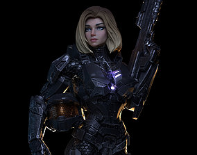 Female Halo Spartan Armored 3D print model