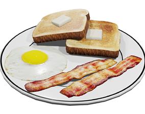 Plate of Breakfast 3D model realtime