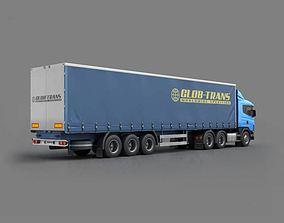 Blue Glob Trans Semi Truck 3D