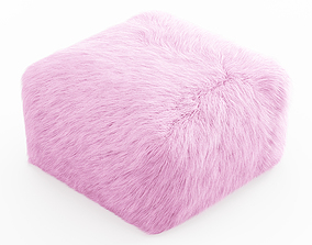 Pouf Youth Faux Fur Light Pink 3D model