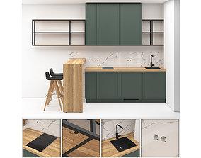 3D model Small kitchen in studio apartment 01