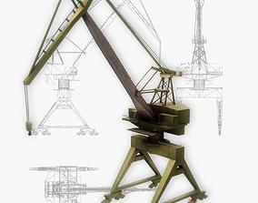 Port gantry crane 3 low poly 3D model