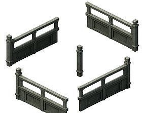 Ancient building accessories - railings 01 3D model