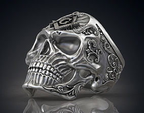 Ring Masonic Skull Freemasons Ring STL 3d model for 3d 1