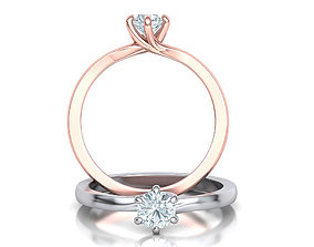Six Twisted prongs Engagement ring 3dmodel