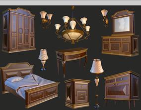Vintage Furniture Bedroom Pack PBR Game 3D asset