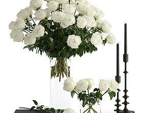 White roses 3D decor