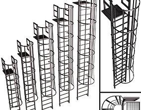 3D architectural Fire escape safety elements