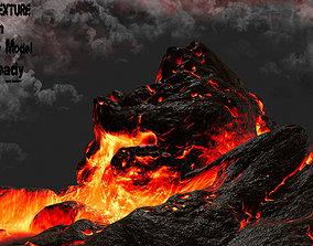 3D model low-poly lava mountain