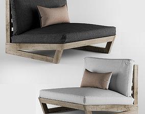 Sunset Teak Lounge Chair 3D