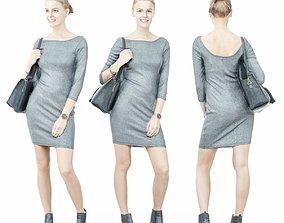 Girl in Grey Dress with Handbag on Shoulder 3D model