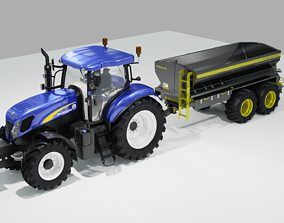 New Holland Tractor with Fertilizer Spreader 3D model