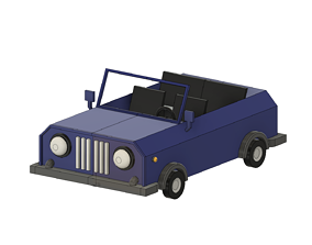 3D printable model packet Low Poly Old Car