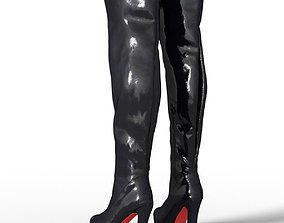 Boot Tighhigh Kinky Latex Female Footwear 3D asset