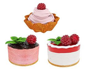 Raspberry dessert collection berries 3D model