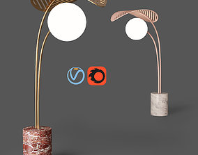 Refuge Floor Lamp with Single Leaf by Marc 3D