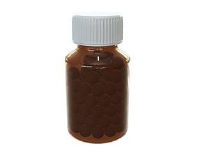 Pills in glass bottle 01 3D