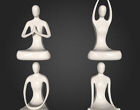 Abstract Meditation Figurine Pack 3D asset