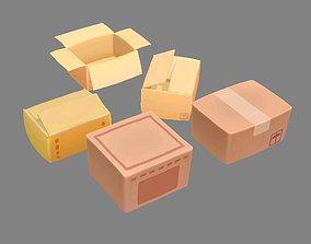 Cartoon carton parcel 3D model