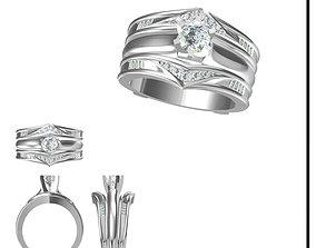 Wedding band rings for women computer 3D printable model 2