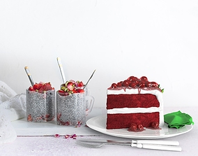 3D model Red berry Cake Slice