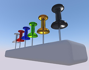 Office needle-pins in different colors 3D