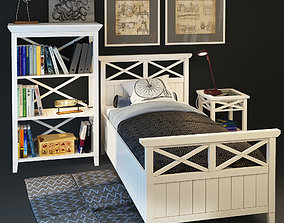 Bedroom set Bretan Single bed 3D model