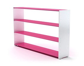 3D White And Pink Wooden Bookshelf