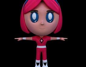 Little super hero girl cartoon style model