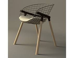 wire and wood contempory Chair 3D model