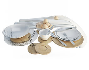 Graphic Tableware and cutlery 3D model