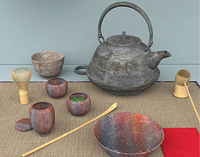 Dogu Traditional Items For Japanese Tea Ceremony 3D