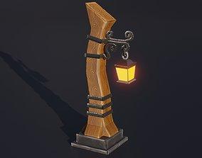 3D model Stylized medieval street lamp