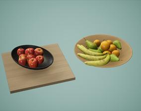 3D asset Fruit Bowl Set Low Poly Game Ready