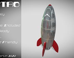 Retro Rocketship 3D model game-ready