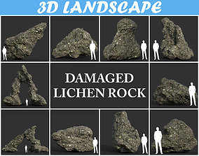 Low poly Damaged Lichen Rock Pack 01 190909 3D