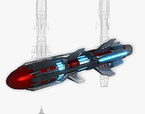 3D asset Missile 6 sci-fi low poly