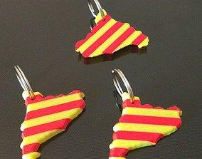 Catalonia Catalunya 3D Map Keyring Flag