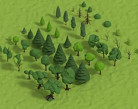 Trees Pack 3D model animated
