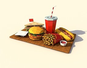 3D asset game-ready Cartoon Low Poly Paper Food Pack