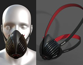 Gas mask protection futuristic technology armor 3D asset