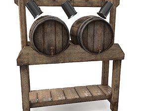 Floorstanding Double Wood Barrel Stand 3D model