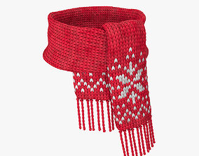 Knitted wool scarf 3D